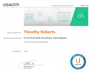 Certificate of Completion | Udacity| Tim Roberts | Carrollton TX
